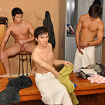 Double gay fuck in a locker room after shower